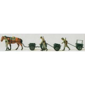 Preiser 16547 Omålade figurer, militärer, hästar med tillbehör, 6 st figurer totalt