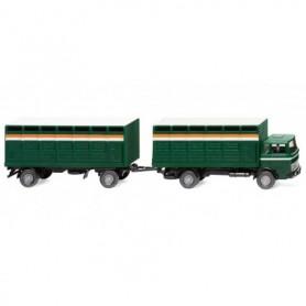 Wiking 56503 Cattle trailer truck (MB) - mossgreen