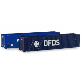Herpa 076937 Accessories Container-Set 2x 45 ft. High Cube Container, 'P&O Ferrymaster | DFDS'