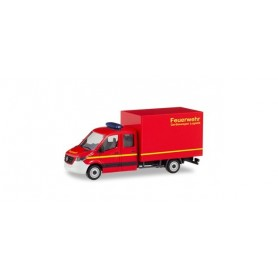 Herpa 094009 Mercedes-Benz Sprinter `18 new double cabin with box 'Fire department'