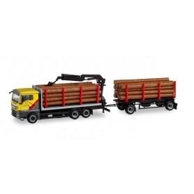 Herpa 311489 MAN TGX XL Euro 6c wood transporter trailer truck 'Mengel Holztransporte'
