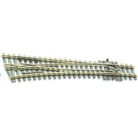 Peco SL-E396 Växel, vänster, medium, radie 457 mm, vinkel: 14°, längd: 123,7 mm