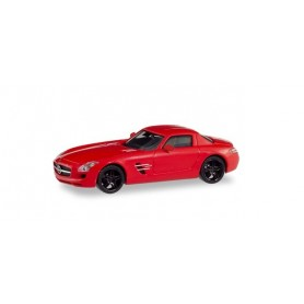 Herpa 430784 Mercedes-Benz SLS AMG, red with black rims