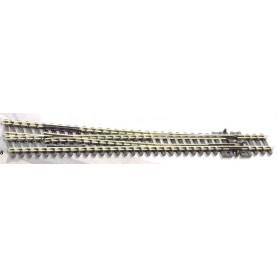 Peco SL-388 Växel, höger, lång, slank, radie 914 mm, vinkel 8°, längd 160 mm