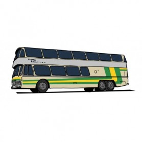 Brekina 58291 Buss Neoplan Skyliner NH 22 DD, silver med gul|grön , Starline