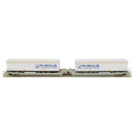 Rocky Rail 90332AC Trailervagn typ Sdggmrs AAE Cargo 'DB Schenker Rail'