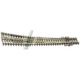 Peco SL-E386 Kurvväxel, höger, radie 914 mm/457 mm, vinkel 10° längd 159,5 mm