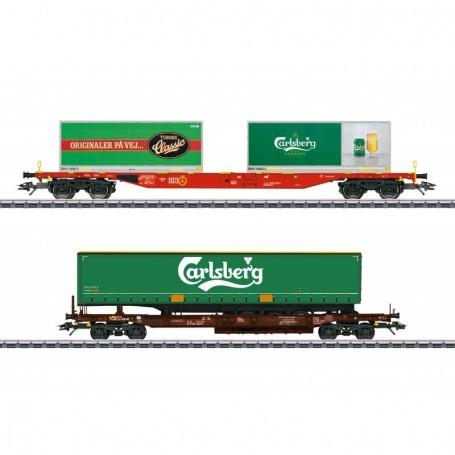 Märklin 47109 Carlsberg and Tuborg KLV (Combination Load Service) Freight Car Set