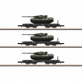 Märklin 82229 Vagnsset med 3 tungtransportvagnar med last av 3 tanks typ DB