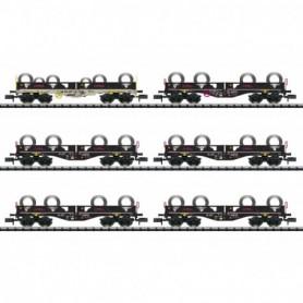 Trix 15080 Vagnsset med 6 flakvagn Sgmmnss 40 med last av metallrullar