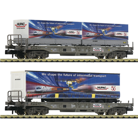 Fleischmann 845321 2-piece set standard pocket wagon that carries a trailer from the company HUPAC