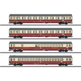 "Märklin 43849 Vagnsset med 4 personvagnar ""Rheingoold Offshoot Train"" ""Bügelfalte"""