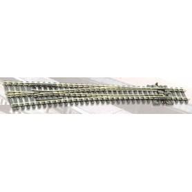 Peco SL-89 Växel, vänster, lång, slank, radie 1524 mm, vinkel 12°, längd 258 mm