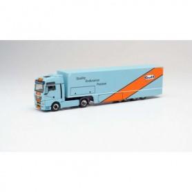 Herpa 311335 MAN TGX XXL racing transporter 'Gulf Oil'