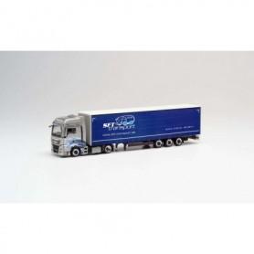Herpa 311816 MAN TGX XXL Lowliner curtain semitrailer 'SFT Transporte'