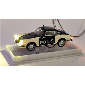 Porsche 911 Coupé 'Polis  med bromsljus och strålkastare och blinkande varningsljus