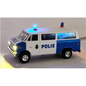 Chevrolet Van SDA 102 'Polis Göteborg' med bromsljus och strålkastare och blinkande blåljus