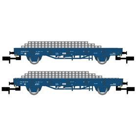 "Arnold HN6401 Vagnsset med 2 flakvagnar typ ""Railpro"" NS med last av betongslipers"