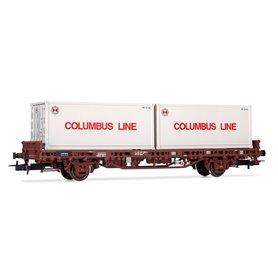 "Rivarossi HR6413 Flakvagn Kglps typ DB med last av containers ""Columbus Line"""