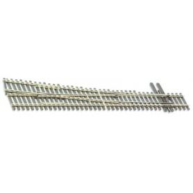 Peco SL-8361 Växel, höger, radie 43 inches, vinkel 9,5°, längd 223,5 mm