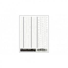 Woodland Scenics DT506 Dekalark, bokstäver och siffror, vit, Roman R.R., 1 ark