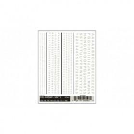 Woodland Scenics DT507 Dekalark, bokstäver och siffror, vit, Gothic R.R., 1 ark