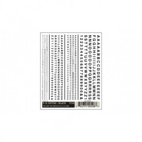 Woodland Scenics DT508 Dekalark, bokstäver och siffror, svart, Gothic R.R., 1 ark
