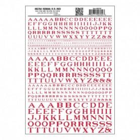 Woodland Scenics MG704 Dekalark, bokstäver, röd, Roman R.R., 1 ark