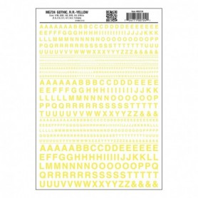 Woodland Scenics MG724 Dekalark, bokstäver, gul, Gothic R.R., 1 ark