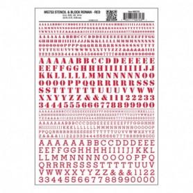 Woodland Scenics MG753 Dekalark, bokstäver, Stencil & Block Roman, röd, mått 3/32, 1/8, 1/4