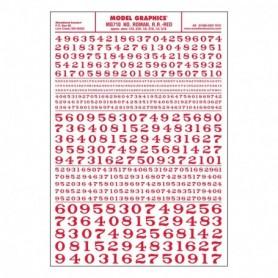 Woodland Scenics MG710 Dekalark,siffror, roman röd, mått 1/16, 3/32, 1/8, 3/16, 1/4, 5/16