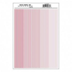 "Woodland Scenics MG762 Dekalark, stripes, röd, mått .010, 1/64, .022, 1/32 & 3/64"""