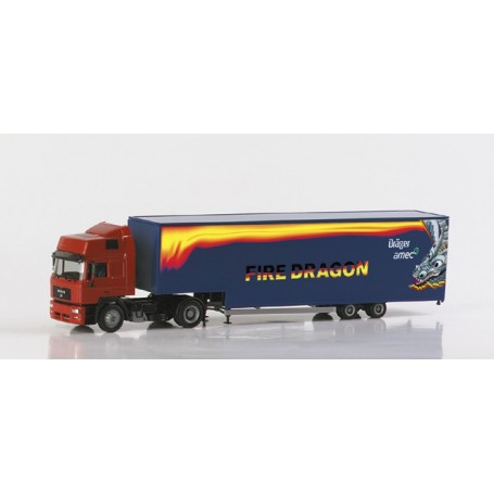 "Herpa 148214 MAN F2000 Evo HD Jumbo box semitrailer ""Dräger/Fire Dragon"""