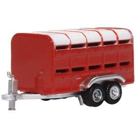Oxford Models 133679 Livestock Trailer Red