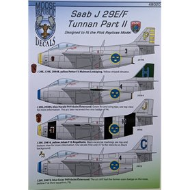 "Pilot Replicas 48D020 Dekalark SAAB j 29 E/F Decals ""Tunnan Part II"" 1/48 scale"