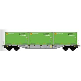 "B Models 90803.1AC Containervagn Sgns D-AAEC med last av containers ""Green Cargo"""