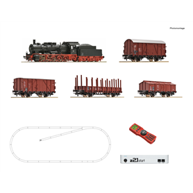 Roco 51318 Digital Starter Set z21: Steam locomotive class 057 and goods train, DB