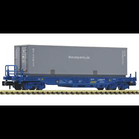 """Fleischmann 845375 Flakvagn Sdgkkmss typ RENFE med last av trailer """"Shun ping"""""""