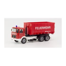 "Herpa 310963 MAN F8 roll-off container truck ""Fire department"""