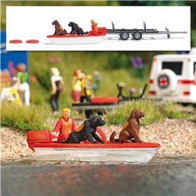 Busch 7898 Water rescue with Newfoundland dogs and motorboat