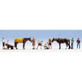 Noch 36634 Stallpersonal med djur, 8 st figurer totalt