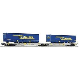 "Roco 75903 Containervagn Sdggmrs/T2000 AAE 31 80 4993 148-4 med last av 2 trailers ""LKW Walter"""