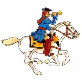 Prince August 932 Karoliner, Kavallerist med trumpet, 40mm höga