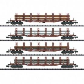 Trix 15484 Vagnsset med 4 stolpvagnar Snps 719 typ DB 'Steel Transport'