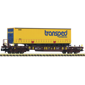 """Fleischmann 825053 Flakvagn Sdgmns 33 AAE med last av trailer """"Transped"""""""