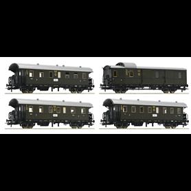 "Roco 74102 Vagnsset med 4 personvagnar typ DRG ""Donnerbüchse"""