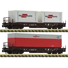 Fleischmann 845377 Vagnsset med 2 containervagnar Sdgkkms typ ÖBB