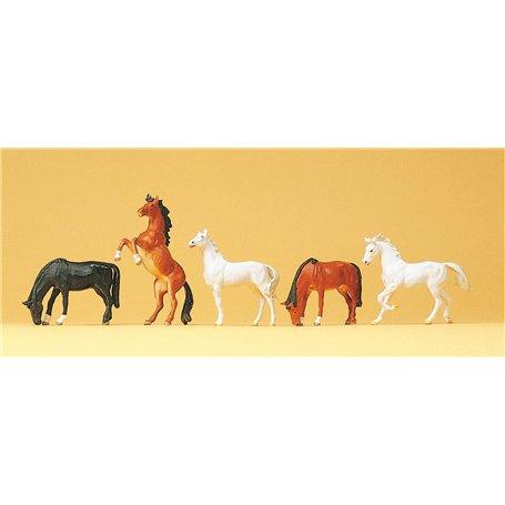 Preiser 10156 Hästar, 5 st