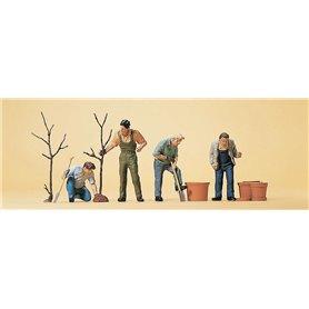 Preiser 10466 Trädgårdsplanterare med redskap, 4 st