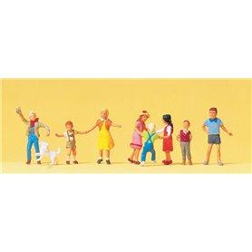 Preiser 10530 Lekande barn, 8 st